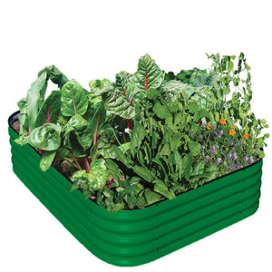 Green modular raised garden bed.